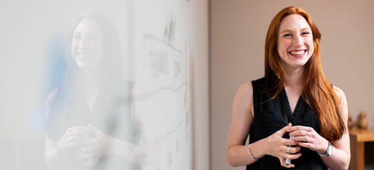 a women showing a presentation