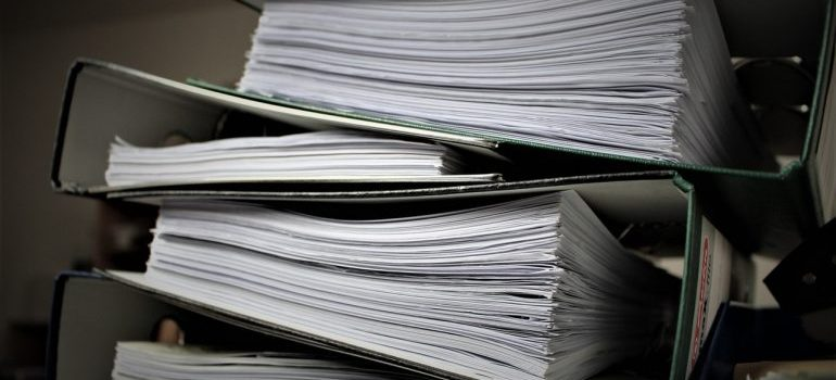 Stacks of paperwork.