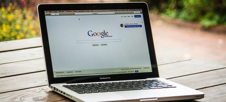 laptop with google search engine open