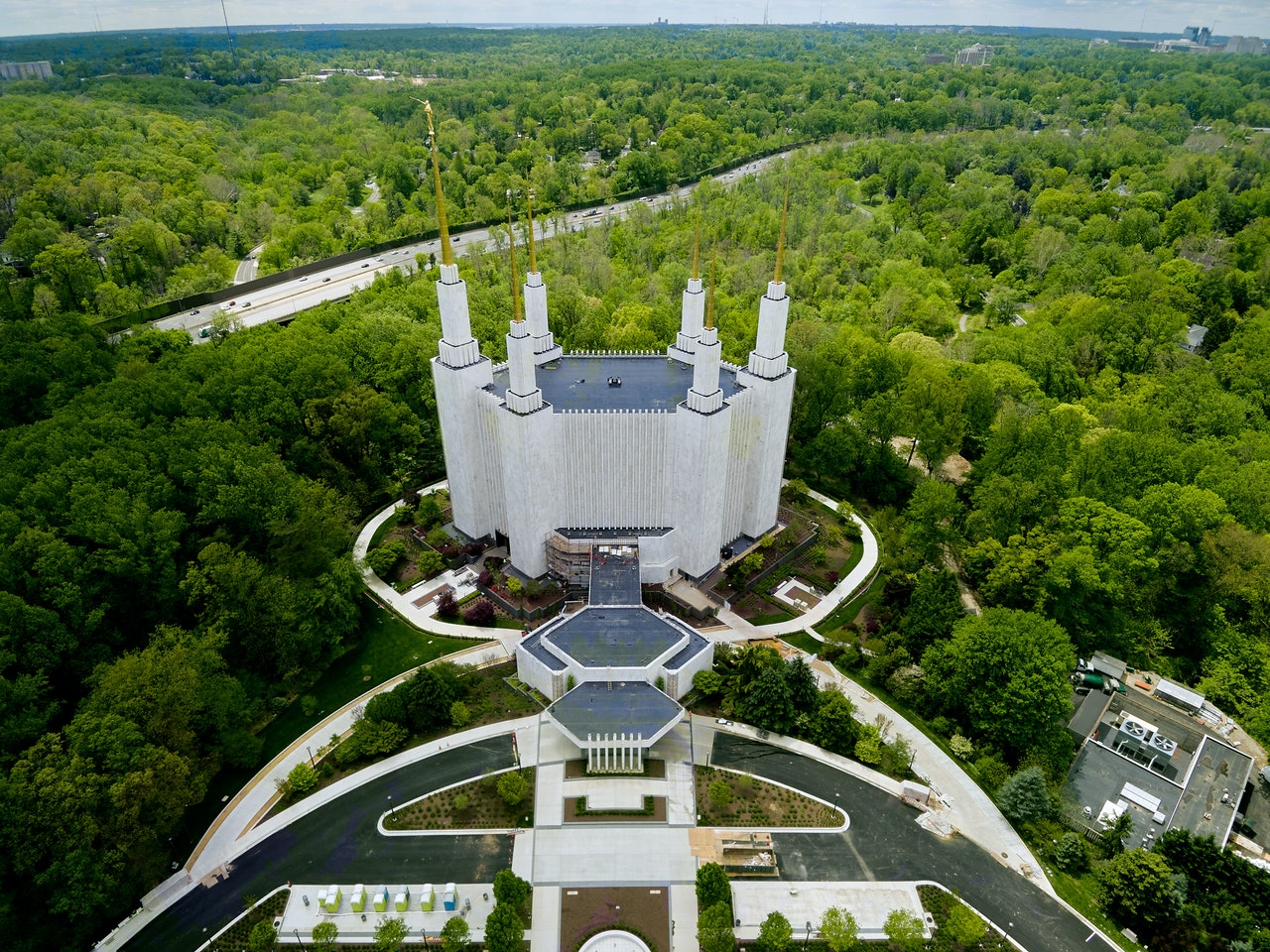 Aerial view of the forest and temple is where you can get to know Montgomery County