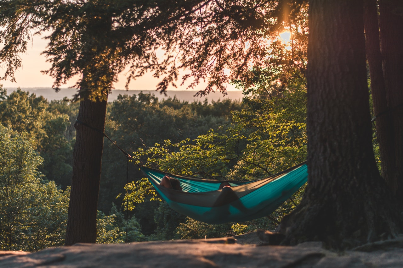 a person relaxing in the hammock in the forest